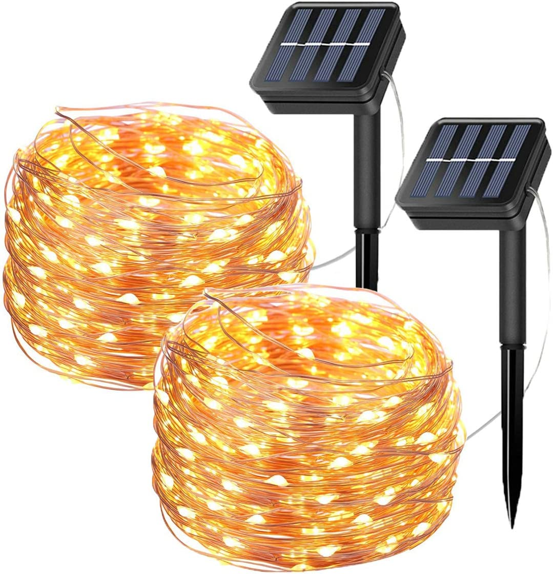 Tempo 2 Pack Solar Fairy String Lights, 20 Meters/66ft 200 LED 8 Modes Copper Wire Starry Lights, Indoor/Outdoor Solar Lights for Christmas,Garden,Home,Patio,Wedding,Party-Warm White