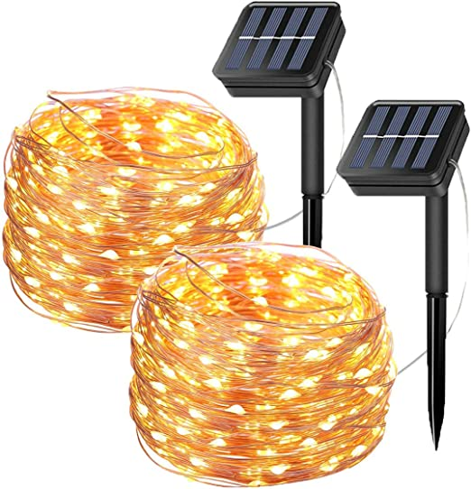 Tempo 2 Pack Solar Fairy String Lights, 20 Meters/66ft 200 LED 8 Modes Copper Wire Starry Lights, Indoor/Outdoor Solar Lights for Christmas,Garden,Home,Patio,Wedding,Party-Warm White: Amazon.es: Hogar