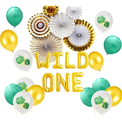 JeVenis Set of 23 God Wild One Balloons Jungle One Cake Topper Safari Jungle First Birthday Decoration Safari Balloons Jungle Baby Shower Decorations: Toys & Games