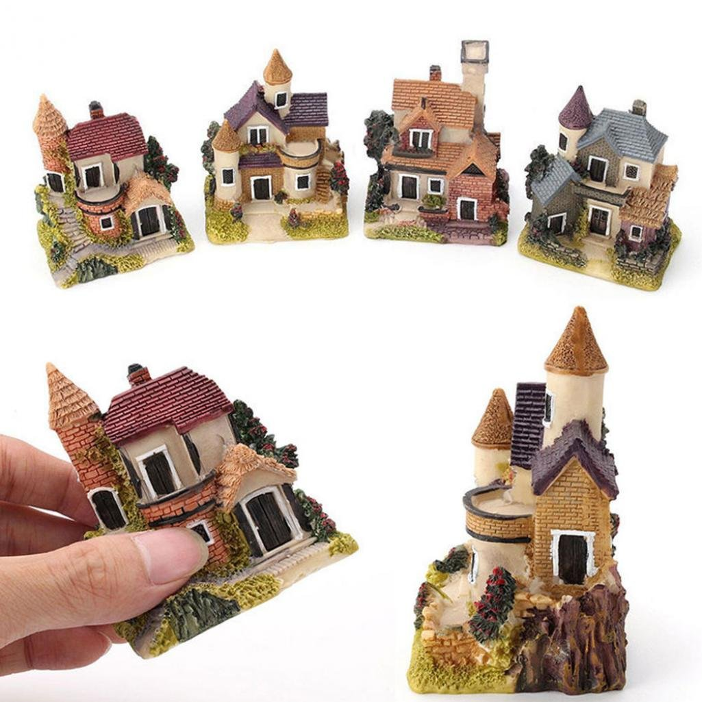 SoundsBeauty Miniature House Fairy Garden Micro Landscape Home Decoration Resin Craft Decor - Random Color and Pattern