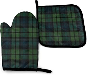 N/D Scottish Tartan Plaid Green Unisex Pattern Heat Resistant Oven Mitts & Pot Holders for Kitchen Set Soft Anti-Scald Cotton Non-Slip Gloves,