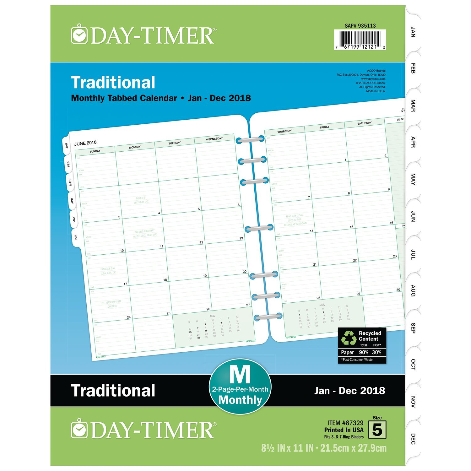 Day-Timer 2019 Planner Refill, 8-1/2'' x 11'', Folio Size 5, Two Pages Per Month, Loose Leaf, Classic (87329)