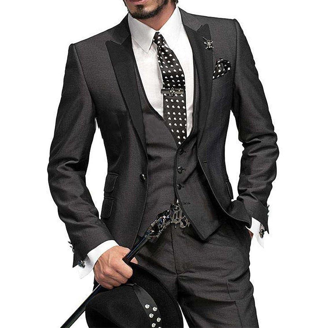 YZHEN Mens Suit Peak Lapel One Button Jacket and Vest Pants Set