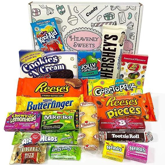 Cesta con American Candy | Caja de caramelos y Chucherias Americanas | Surtido de 19 artículos