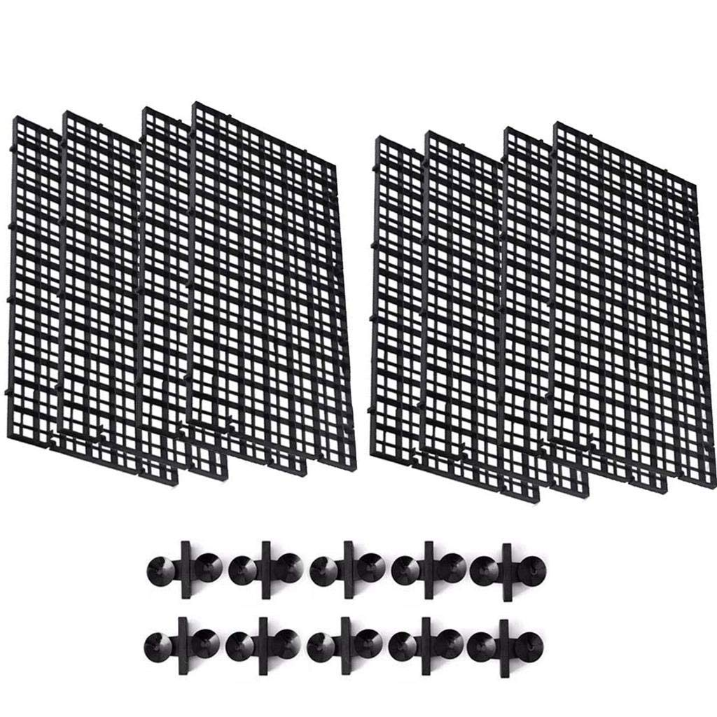 CoscosX 8 Pcs Aquarium Grid Divider Tray Egg Crate Aquarium Fish Tank Filter Bottom Isolation Board Partition Net Pane for Mixed Breeding,10 Pcs Sucker Clips Suction Cups,Black by CoscosX