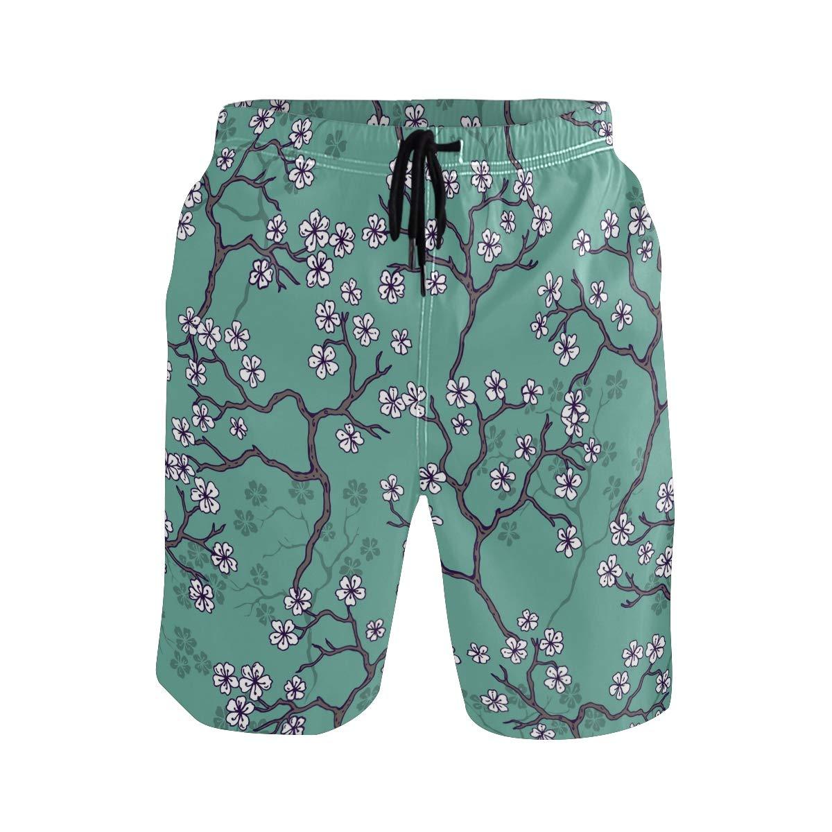 KUWT Mens Swim Trunks Japanese Sakura Cherry Blossom Quick Dry Beach Shorts Summer Surf Board Shorts