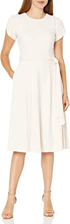 Calvin Klein Women's Tulip Sleeved A-Line Dress with Self Belt