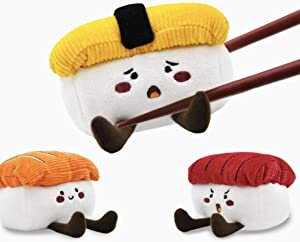 HugSmart Pet - Foodie Japan Sushi | Squeaky Soft Plush Dog Toys for Small Dogs | Puppy Toys for Teething Small Dogs | Dog Food Toy for Small Medium Dog(3 Pack)
