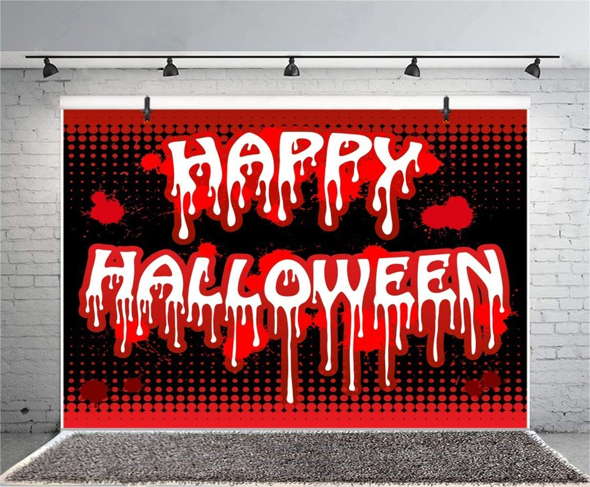 10x6.5ft Happy Halloween Inscription Backdrop Polyester Bloody Text Red Dots Black Photography Backgroud Child Baby Halloween Party Banner Horror Night Trick Or Treat Party Shoot