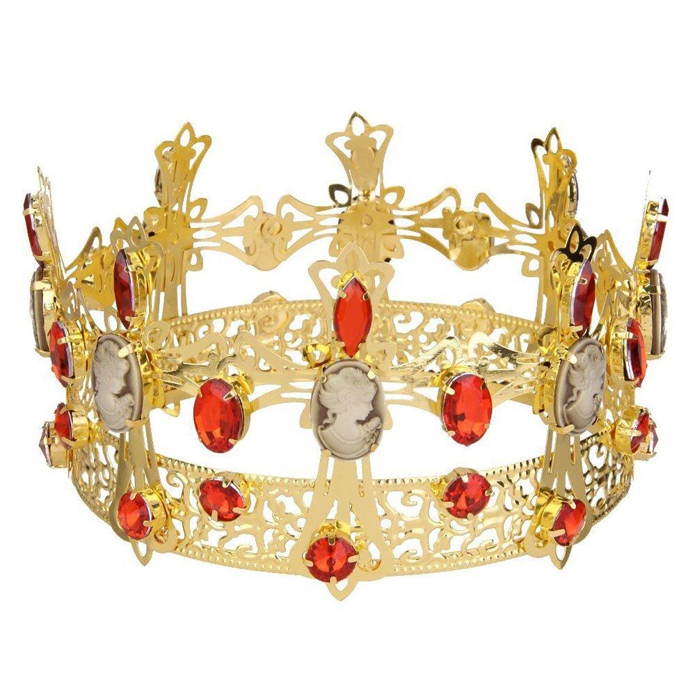 Tinksky Rey de diamantes de imitación de cristal corona nupcial Tiara para novia fiesta Favor (oro)