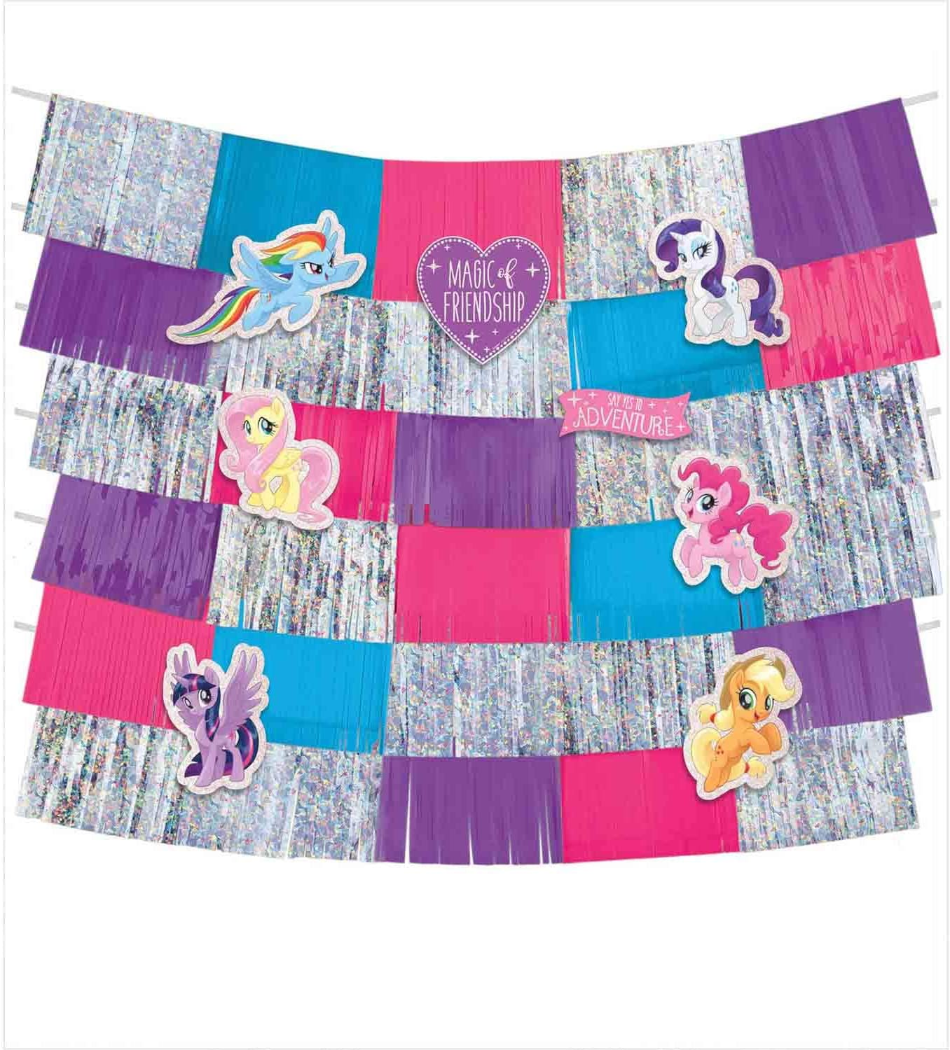 amscan My Little Pony Friendship Adventures Backdrop Kit - 9 pcs, Blue/Gray/Pink/Multicolor (242391), One Size