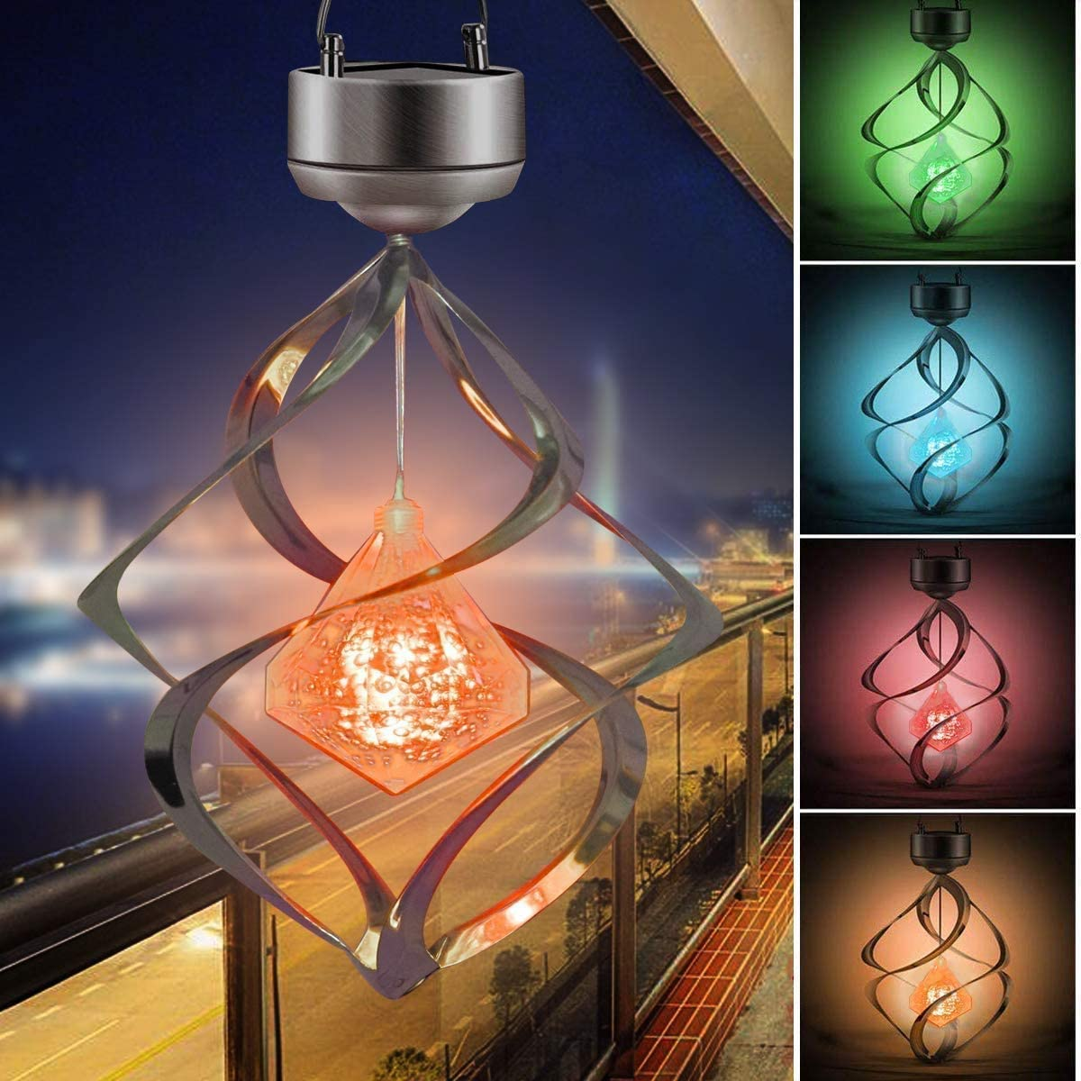 AMWGIMI Solar Lights Outdoor Christmas Yard Decoration Wind Chimes for Outdoor Indoor Colorful Gift for Garden, Patio, Balcony Decor