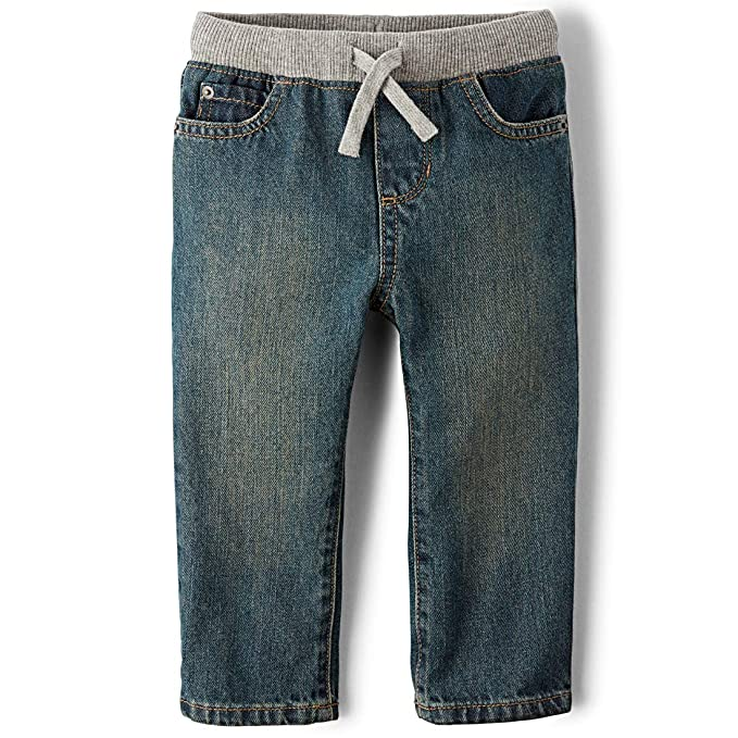 The Children's Place Baby Boys' Pull-on Aged Stone Denim Jean, Aged Stone, 12-18 Months