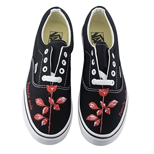 1d90a9a7a814e Amazon.com: Depeche Mode Rose Hand Painted Canvas Shoes Vans Laces ...
