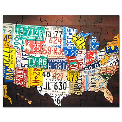 Amazon.com: CafePress - United States License Plate Map - Jigsaw ...