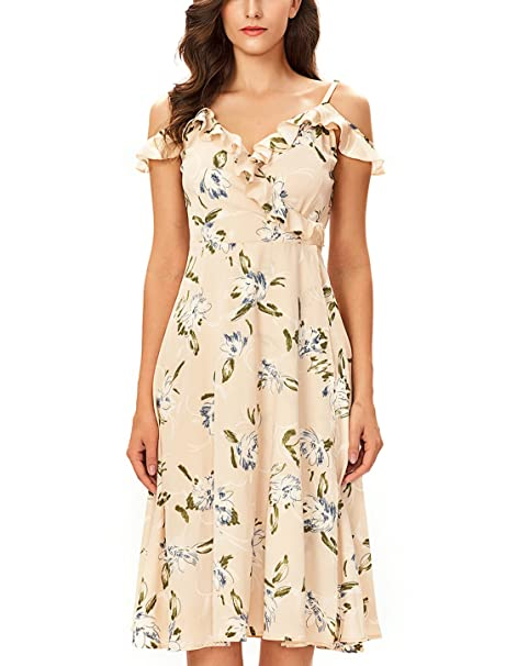 Noctflos Women s Floral Chiffon Summer Cold Shoulder Cocktail Party Midi  Dress (X-Small f343d09e1