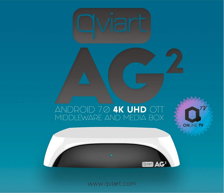 Qviart AG2 Receptor Streaming 4K UHD Ott Android 7 LAN y WiFi Dual Band, 2 GB DDR3 Ram, 16GB Flash, Bluetooth 4.1, QTV Online TV, VOD y Media Player, Color Negro: Amazon.es: Electrónica