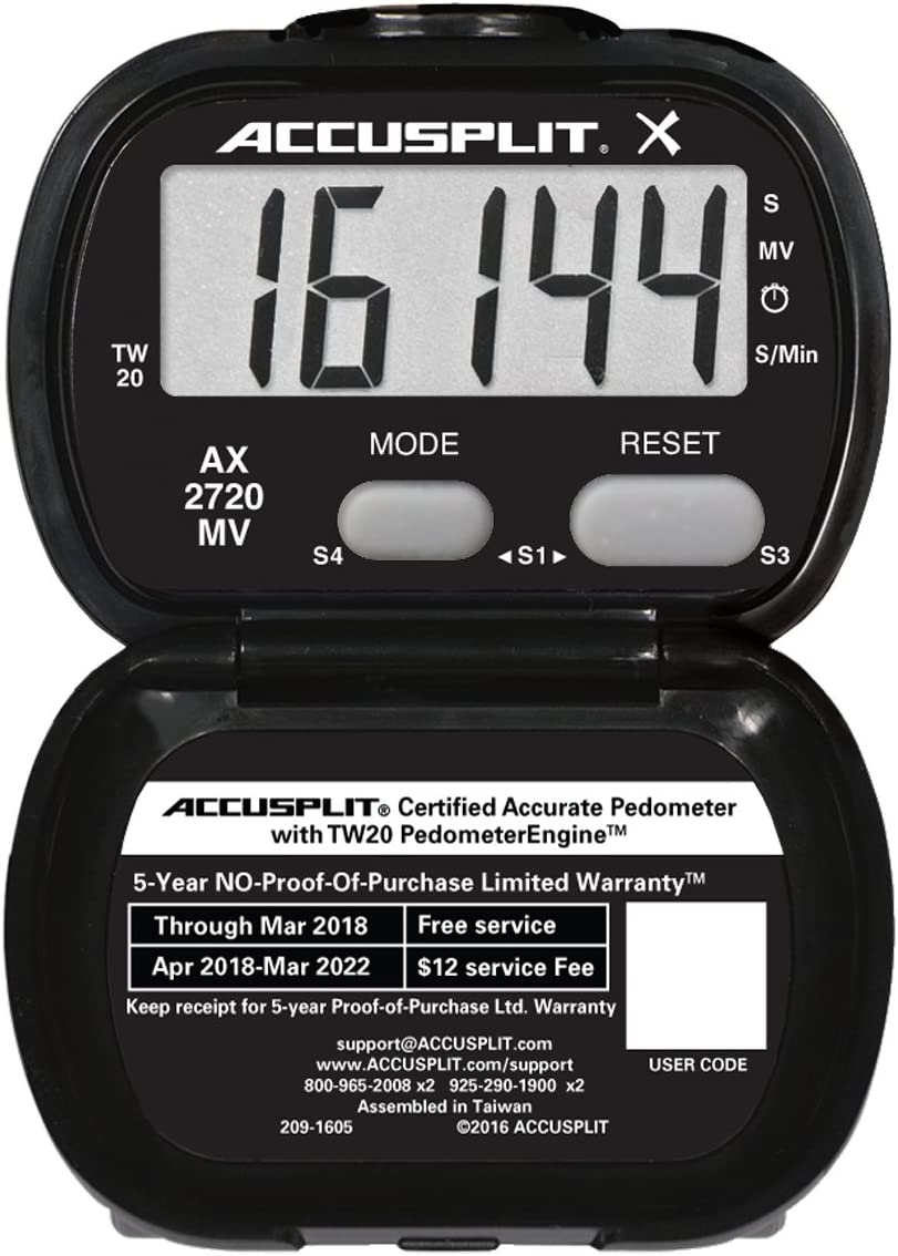 ACCUSPLIT Accelerometer Activity Tracker Pedometer with MVPA, Black