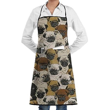 Imagen De Pug, perro y papel pintado Delantal de cocina ajustable ...
