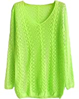TOOGOO(R)New Candy Color Small Twist V-neck Long-sleeved Hollow Smock Women Pullover Sweater Fluorescent Green