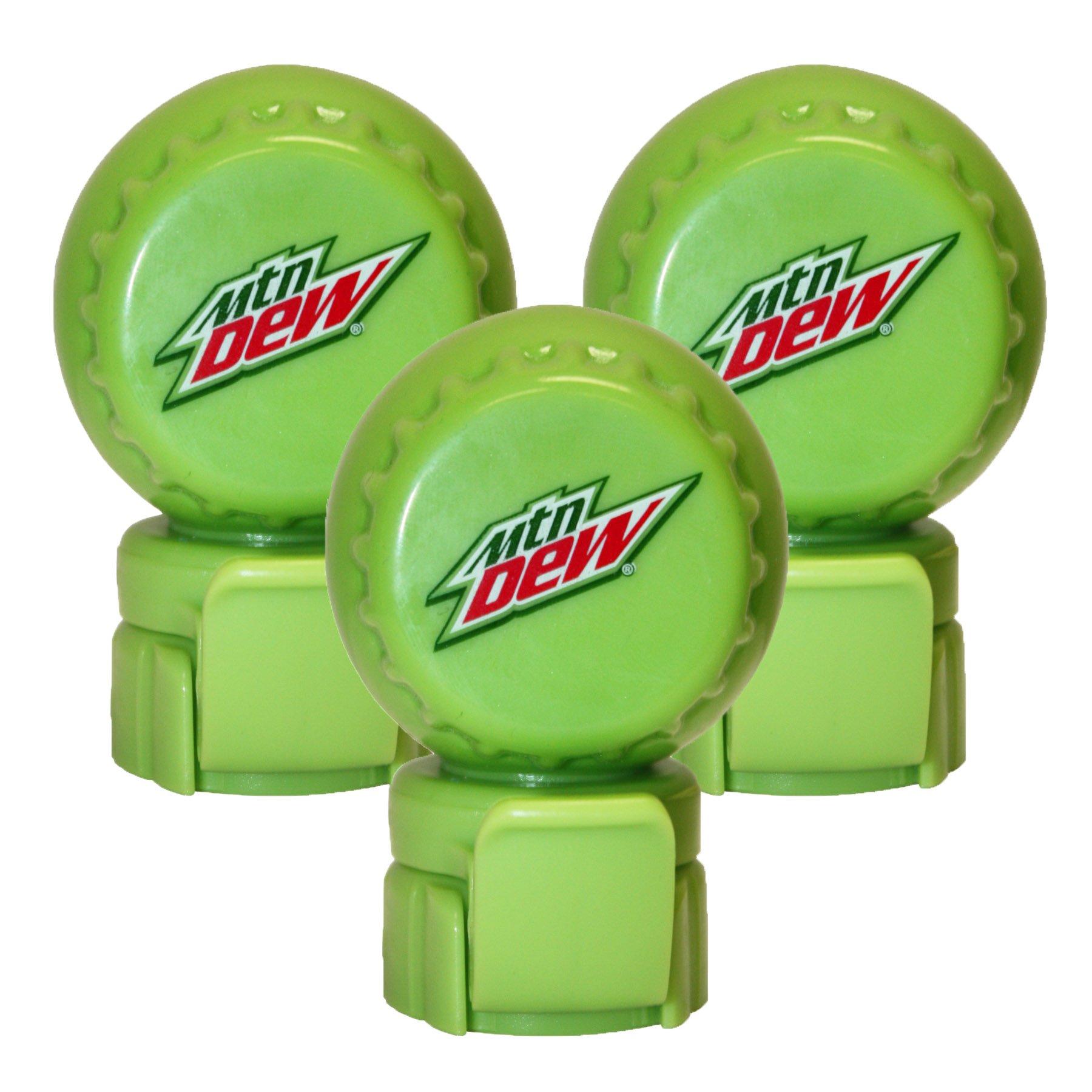 Jokari 3 Count Mtn Dew Modern Logo Fizz Keeper Soda Bottle Pump and Pour Caps, Green