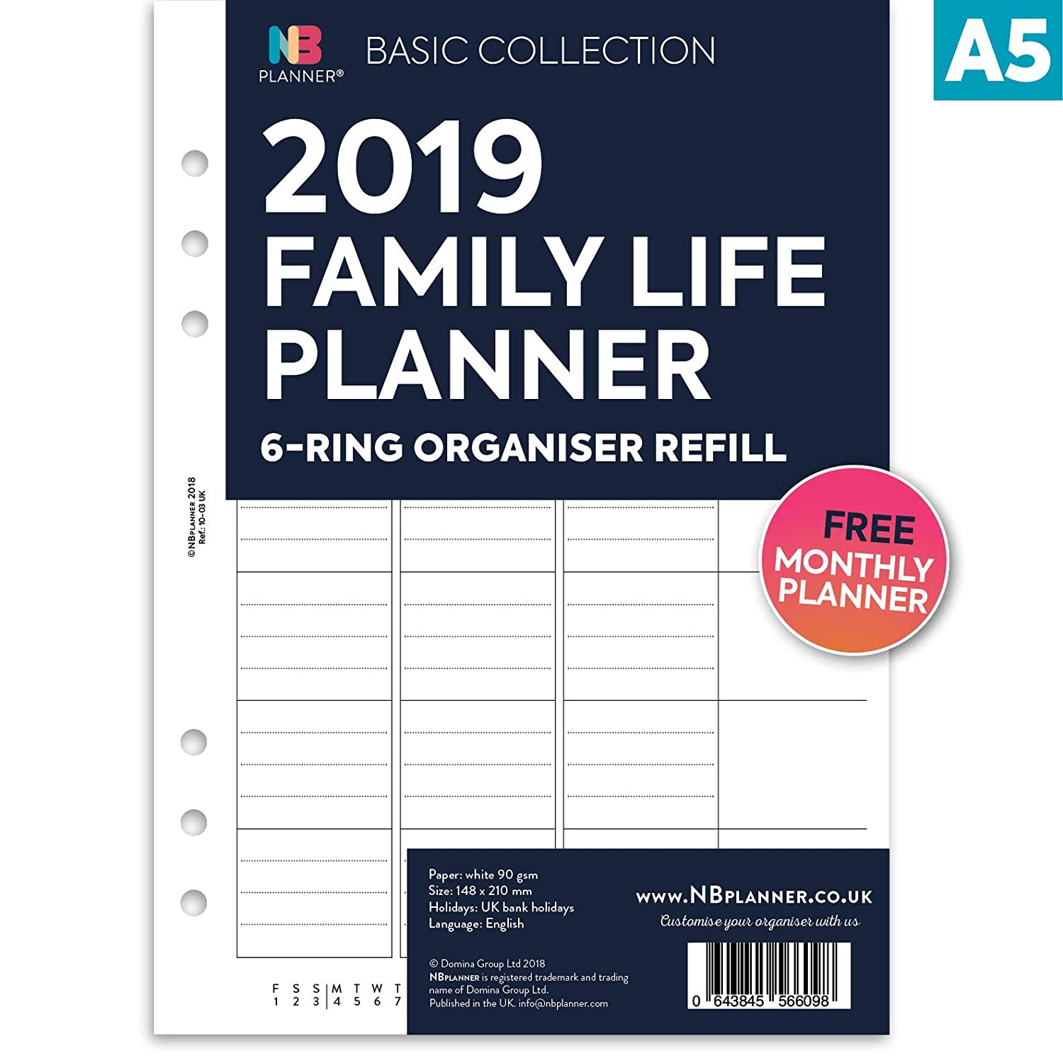NBplanner® 2019 Family Life Planner Basic Collection English Organiser Refill A5 Size Domina Group Ltd