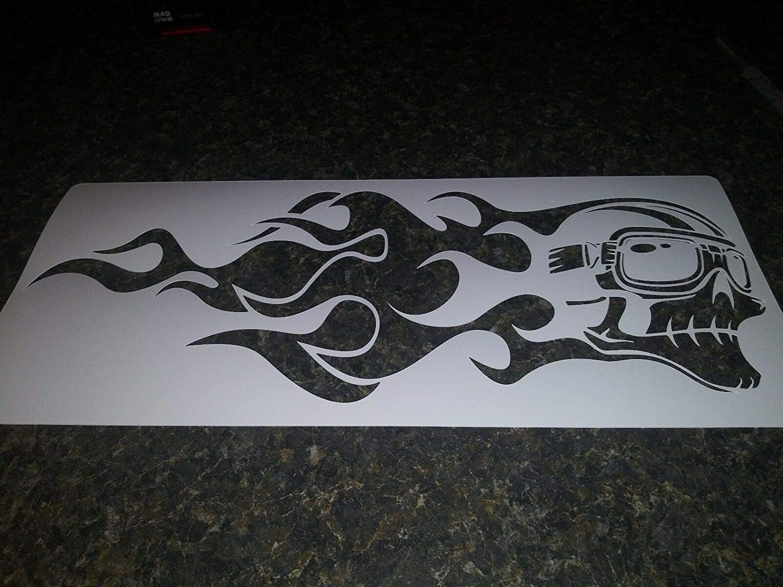 Airbrush Stencil Flaming Motorcycle skull 12.5x5.2