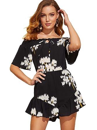 3709954d41b SheIn Women s Boho Off Shoulder Floral Print Tie Front Jumpsuit Rompers  Black