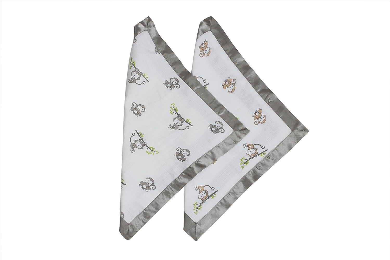 Grey//Beige HMGKM2SB Bacati Happy Monkeys Muslin 2 Piece Security Blankets