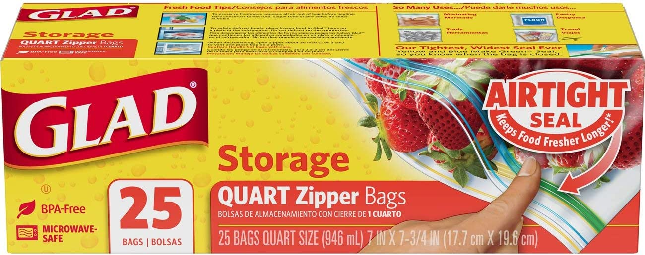 Glad Zipper Food Storage Plastic Bags - Quart - 25 Count