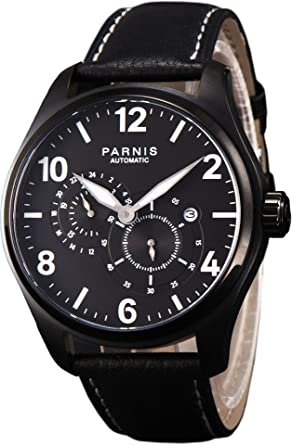 PARNIS 2152 Deportivo de Hombre automático Reloj de Miyota de Cristal de Zafiro Caja de Acero