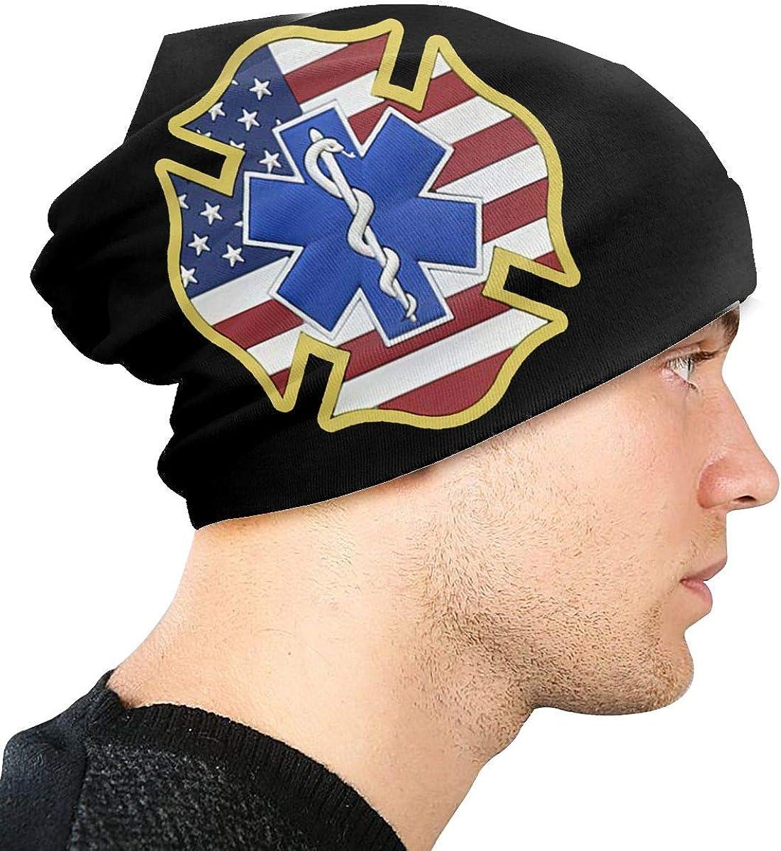 JINGUImao EMS EMT Fire Fighter USA Flag Unisex Warm Hat Knit Hat Skull Cap Beanies Cap