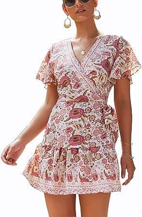 Shmily Girl Women/'s Dresses Summer Wrap V Neck Bohemian Floral Print Ruffle Swing A Line Beach Mini Dress