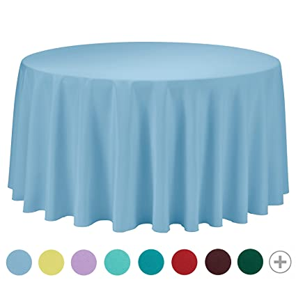 VEEYOO Tablecloth 108 Inch Round Solid Polyester For Restaurant Party  Bistros Buffet Table Baby Shower Kitchen