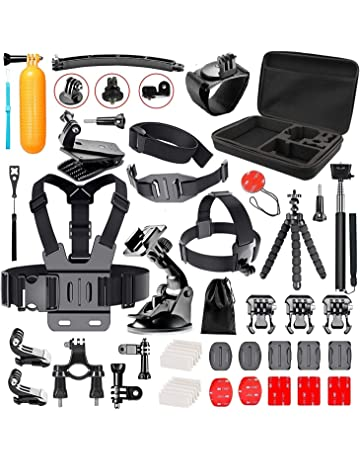 Navitech 50-in-1 Action Camera Accessories Combo Kit with EVA Case Compatible with The Rollei 8s Plus Action Camera