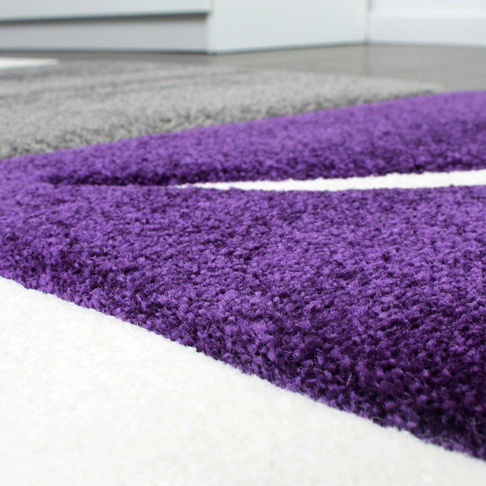 Teppich grau lila  Designer Teppich mit Konturenschnitt Teppich Kariert Lila Schwarz ...