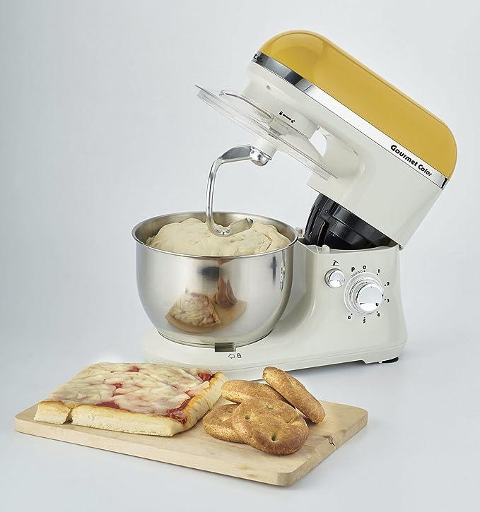 Ariete Gourmet Color 1000W 4L Color blanco, Amarillo - Robot de cocina (4 L, Blanco, Amarillo, Giratorio, Locked, Acero inoxidable, Acero inoxidable): Amazon.es: Hogar