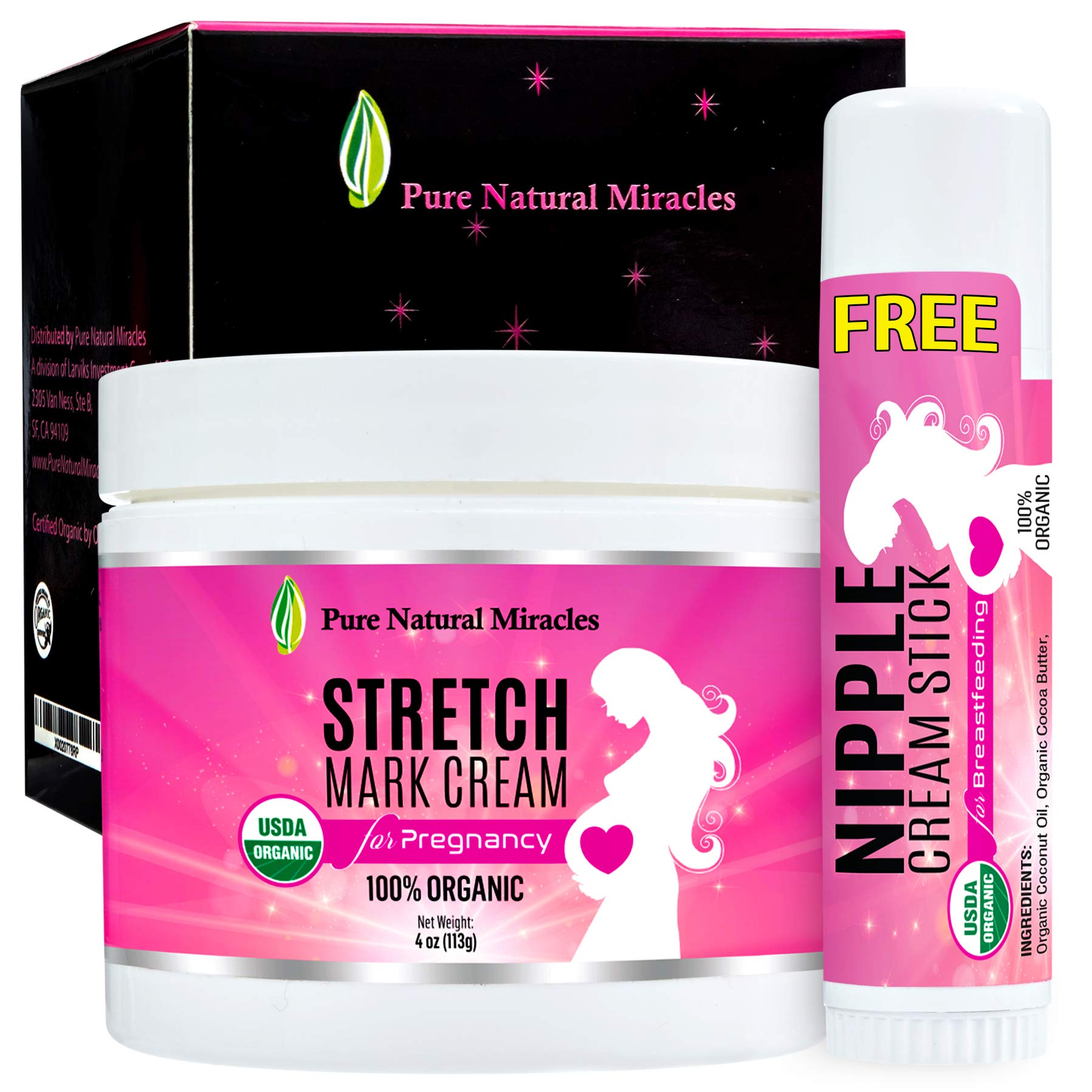 Anti Stretch Mark Cream for Pregnancy, Organic Belly Butter by Pure Natural Miracles