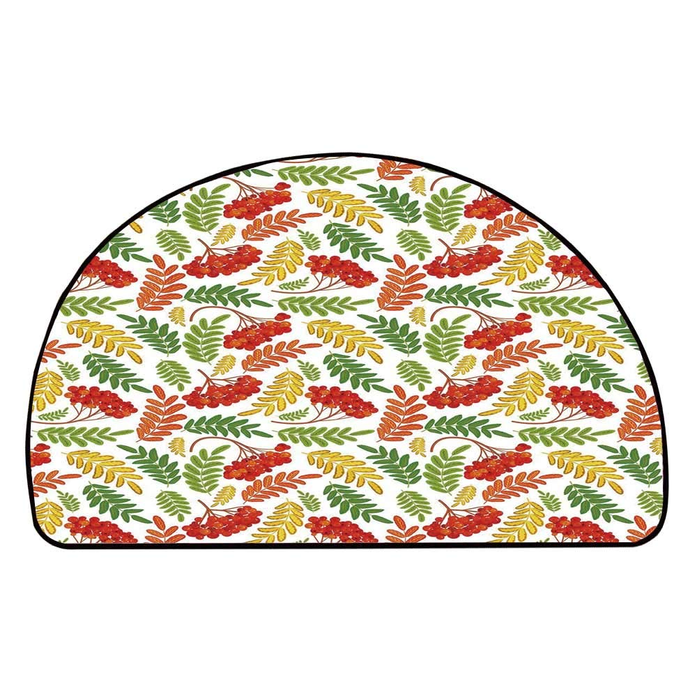 C COABALLA Rowan Comfortable Semicircle Mat,Autumnal Flora Wild Rural Nature Pattern Botanical Theme with Vibrant Colorful Leaves for Living Room,11.8'' H x 23.6'' L