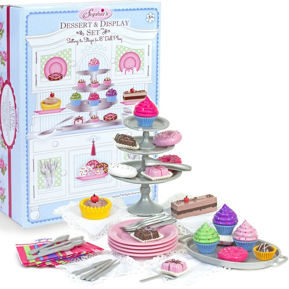 Sophia's 18 Inch Doll Dessert Set with Accessory Desserts, Serving Plates, Utensils and Trays (39-Piece) Mini Doll Food for Your Favorite 18 Inch Doll