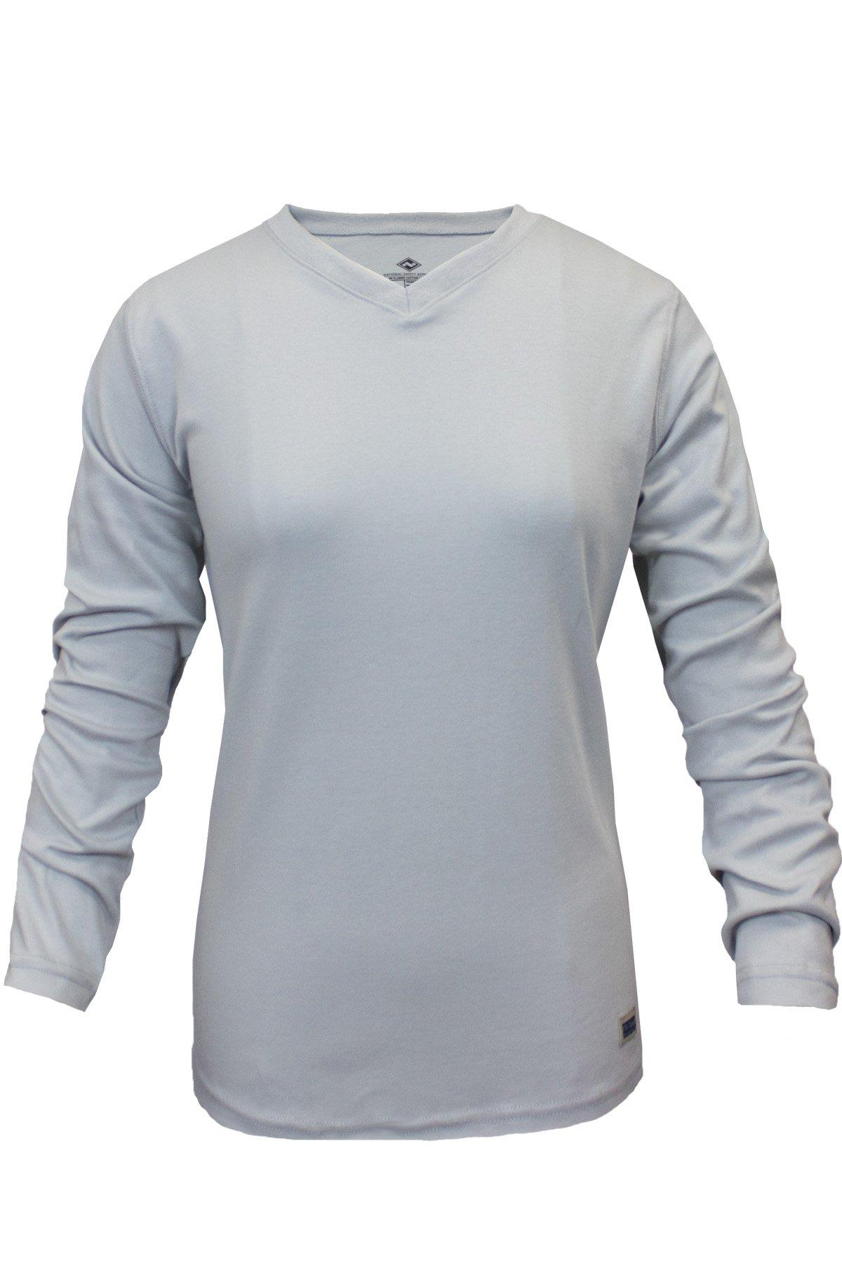 National Safety Apparel C54PGLSWLG Women's FR Classic Cotton Long Sleeve T-Shirt, 100% FR Cotton, Large, Gray