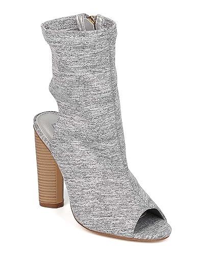 Women Peep Toe Heel Bootie - Open Back Bootie - Block Heel Boot - Sock Ankle Boot - GI84 by