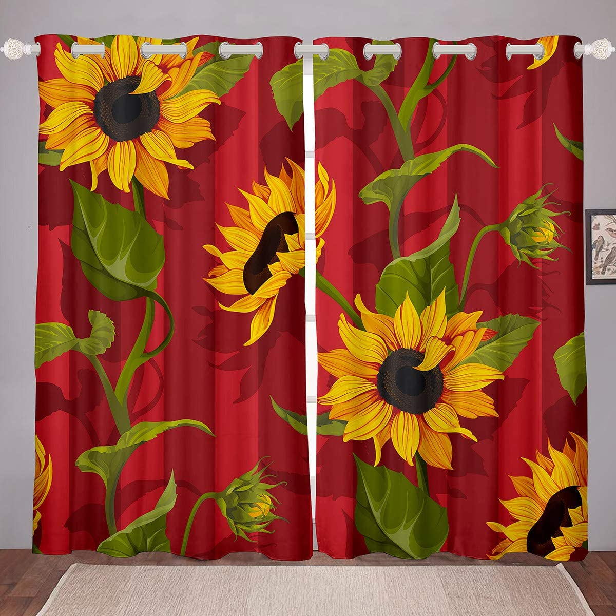 Amazon Com Sunflower Burgundy Curtains Window Yellow Flower Sun Curtain Panel Children Adult Wall Artwork Room Grommet Drapes For Bedroom Living Dining 2 Panels 84wx84l Home Kitchen