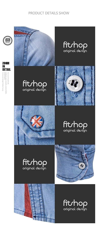 YUNY Men Plus Size Hood Denim Windproof Mid Long Tee Polo Shirt Light Blue XL