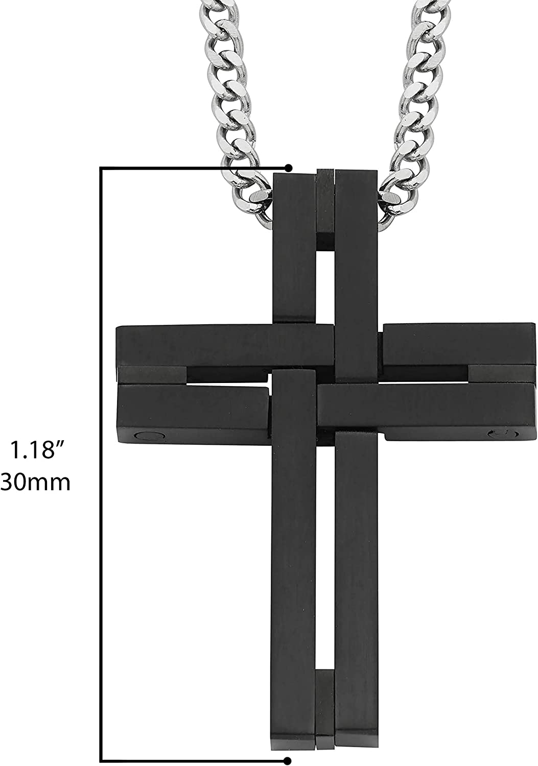 Details about  /Cross Pendant Necklace Silver Stainless Steel Faced Beads Necklace