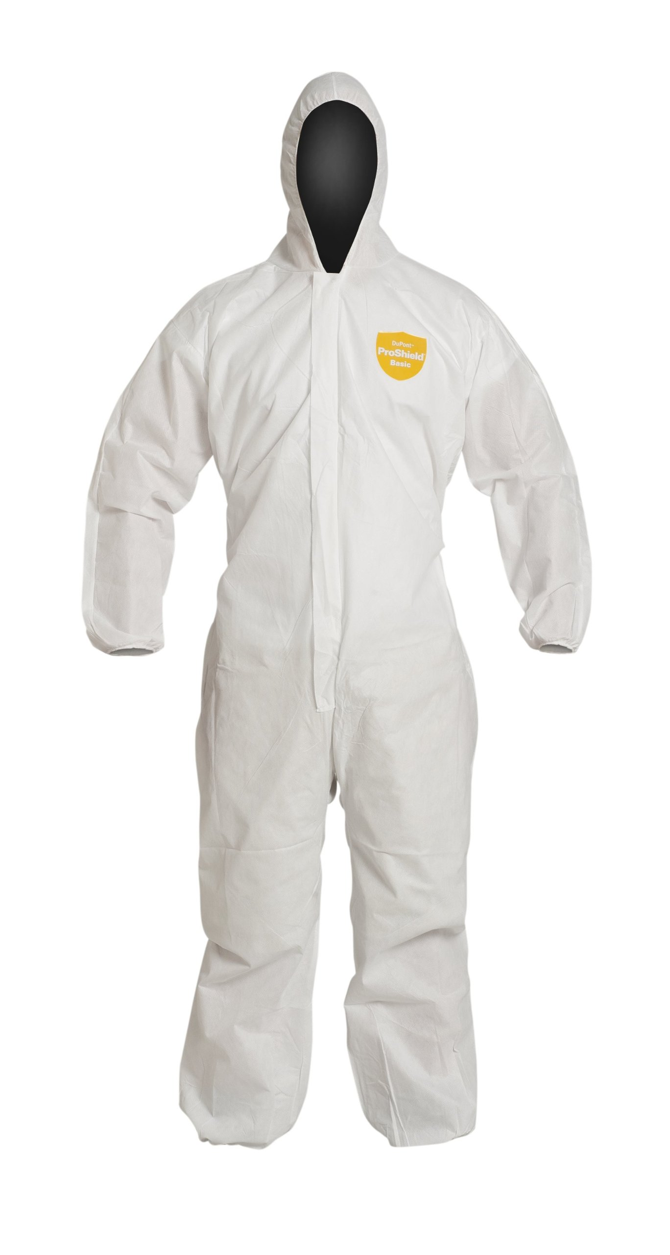 DuPont ProShield 10 PB127S Disposable Protective Coverall with Standard Fit Hood, Elastic Cuff and Ankles, White, X-Large (Pack of 25)