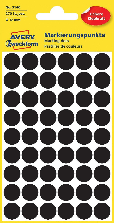Avery Zweckform 3140contrassegno punti (270pezzi, Ø 12mm) 5foglio nero Avery Tico Srl