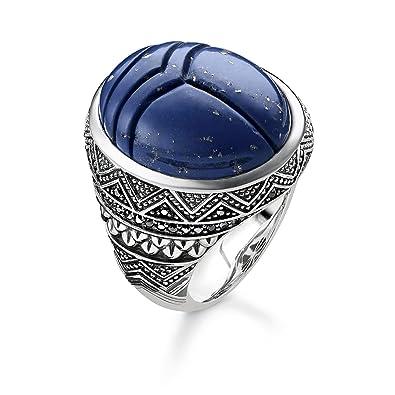 90eec2f81739 Thomas Sabo Unisex Ring Blue Scarab 925 Sterling Silver