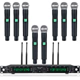 Wireless Microphone System, Phenyx Pro 8-Channel UHF Cordless Mic Set with Eight Handheld Mics, Fixed Frequency, All Metal Bu