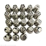 TANGCHU Russian Piping Tips 23PCS/SET Stainless Steel Large Size Icing Syringe Set DIY Coupler Nozzle
